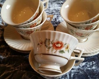 LENOX TEMPLE BLOSSOM Vintage Set of 8 Cups & Saucers