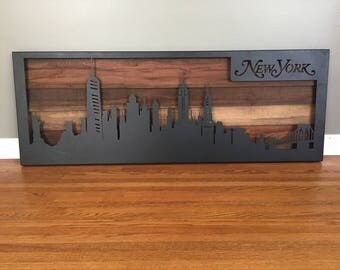 New York City Skyline | 36 in. wide | Different Finishes and Woods