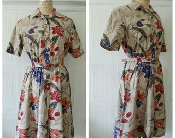 Vintage 1980s dress, 80s does 50s, novelty print swirl dress, floral print, belted shirtwaist dress, fall dress, size large
