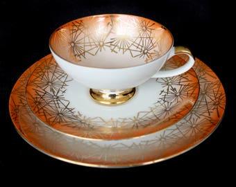 Vintage Porzellanmalerei Parbus Bavaria Porcelain Teacup Trio