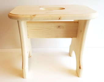 solid wooden kids children step stool chair eco spruce unpainted unvarnished natural