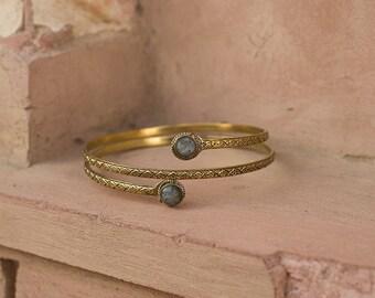 Arm Band Brass Stones / Bracelet de Bras en laiton et pierres