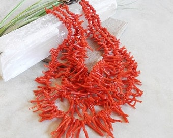 Vintage Red Branch Coral Necklace - Italian Branch Coral - Vintage Coral Necklace - Vintage Pearl and Coral - Roca Fine And Dandy
