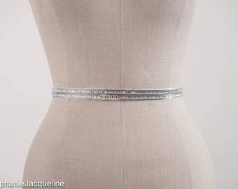 Metallic Silver Thin Bridal Belt / Modern Simple Narrow Bridesmaid Sash