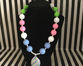 Easter Egg Bubblegum Bead Necklace