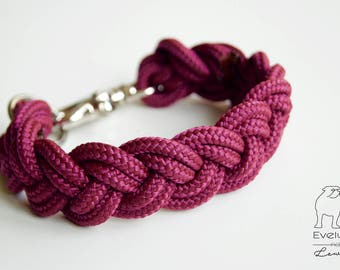 Dogcollar, hondenhalsband, handmade, personalized, eggplant, aubergine, classic, braided, other colors possible on request- Audrey