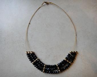 three-strand beaded statement necklace