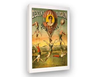 Hot Air Ballon, Canvas Print, Framed And Ready To Hang, Circus Poster Art, Vintage Style Print, Aviation Artwork, Air Show, Airship