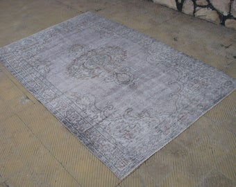 VINTAGE Gray Area Rug , Turkish Soft Gray Pale Bohemian Area Rug , 5'5 x 8'3 feet