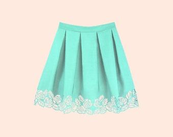 ROSALIA MINT. Floral Lasercut Skirt, Tucked Skirt