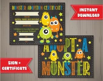 Adopt a Monster Certificate Monster Adoption Certificate Adopt a Monster Sign Monster Birthday Party Monster Party Chalkboard Certificate
