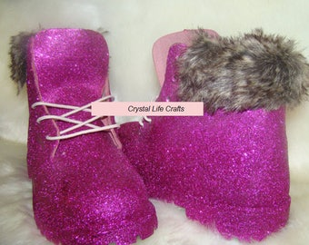 Pink Timberland Boots with Fur Collar