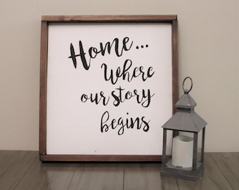 Home... Where our story begins sign