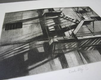 small drypoint etching, architectural print, handmade original printmaking