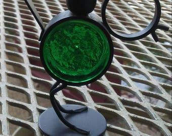 Miniature Emerald green bird candle holder