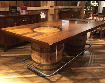 Whiskey Or Wine Barrel Bar Table