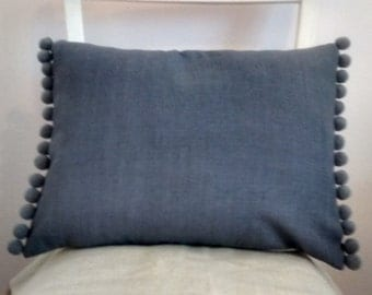 Handmade cushion cover French Linen Look Vintage Style, dark Grey Shabby chic pompom trim