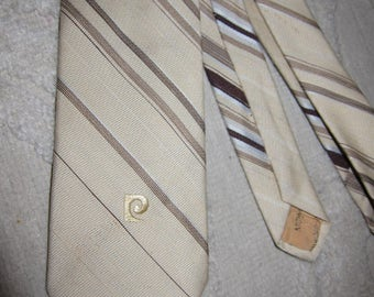 Vintage Pierre Cardin beige tie with dark brown & white diagonal stripes, embroidered logo - linen like feel