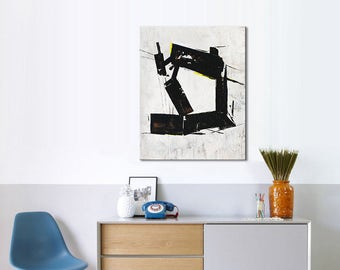 Geometric Painting Black White Abstract Painting Nice Wall Art Large Abstract Painting