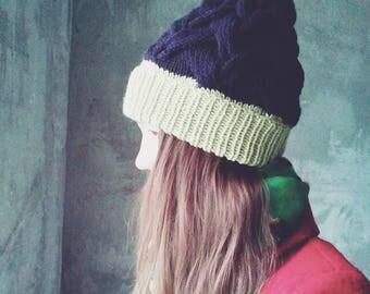 Hand made Knit Beanie Beanie Hat Cable Knit Women's Winter Hat Unisex Ski Hat Mens Wool Hat Custom Color Fur Pom Pom Hat Women's Wool Hat