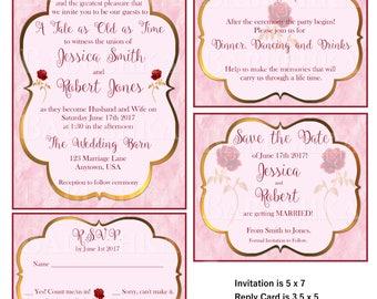 beauty and the beast wedding invitations   etsy, Wedding invitations