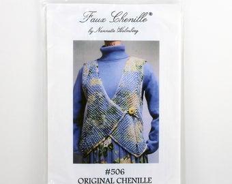 ORIGINAL Faux Chenille Vest Pattern By Nannette Holberg, Size XS-XL, Plush Chenille Vest, Deep V Front Vest, Wrap Style Vest, Button Closure