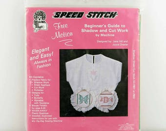 Shadow and Cut Work Kit, Beginner's Guide, DIY Shadow, Sheer, Cut Work, Blouse Pattern Sz 6-20, Machine Free Motion Embroidery, Speed Stitch