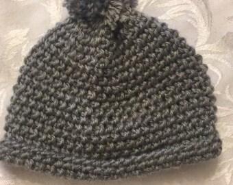 Grey crochet baby hat!
