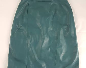 90s Leather Skirt Pencil Teal Vintage Retro