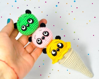 Crochet ice-cream from panda toys Knitted ice-cream, Panda ice-cream, Ice-cream toy, Rainbow toy crochet toy