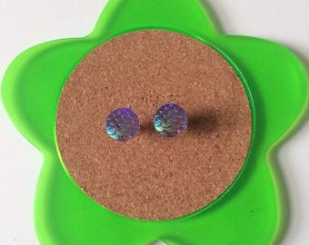 Handmade shimmery purple mermaid or dragon scale stud earrings
