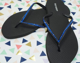 Thin Blue Line Black Flip Flops with blue crystals