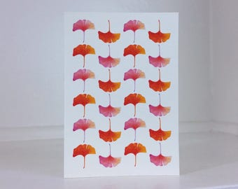 """Instant Download - Printable Greeting Card - Pink and Orange Ginkgo Leaves - Blank Inside - 3.5""""x5"""""""