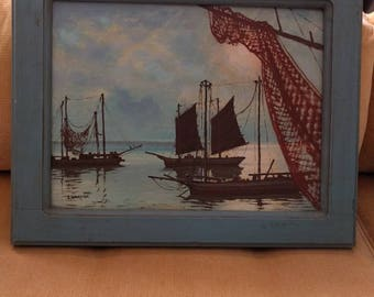 Original Vintage Painting Signed S. Wakaisha 1955 Boats and Water