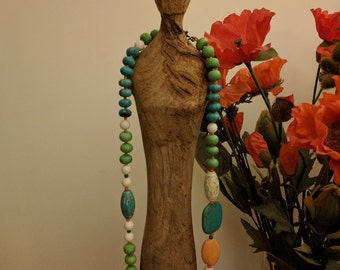 Handmade natural gemstones necklace, colourful stones, gift necklace