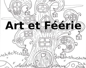"""Coloring page 'Tree house"""""""