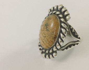 Designer Carolyn Pollack Relios Brown Stone Cab Size 7.25 Ring FREE DOMESTIC SHIPPING