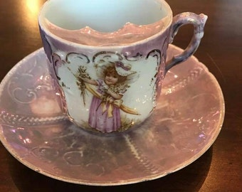 Victorian mustache cup- pink with gold painted details, girl with bonnet