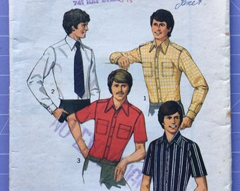 Vintage 1970s Style Pattern 1226, Teen-Boys' and Men set of Shirts, Size 38