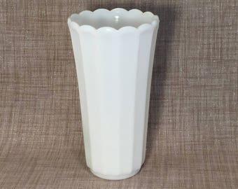 """Vintage Fluted 8.5"""" Milk Glass Vase - Wedding Bouquet, Centerpiece, Shower"""
