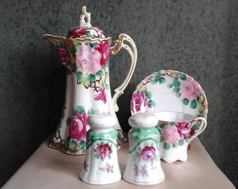 Nippon Chocolate Pot (unmarked) / Salt & Pepper Set / One Teacup and Saucer