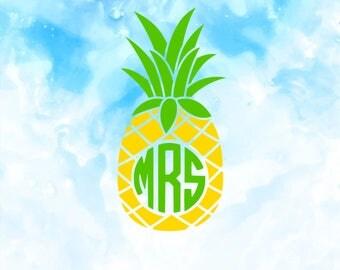 Pineapple SVG | Pineapple Monogram SVG | SVG Files |  Pineapple Cricut Cut Files | Pineapple Silhouette Cut Files