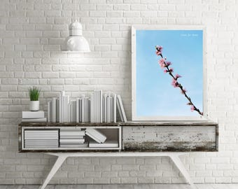 Peach flowers, photography, painting, photo print