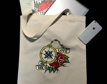 Compass Rose white Embroidered Ecobag