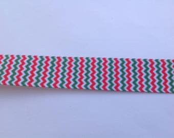 "7/8""  Chevron Green Pink inspired Grosgrain Ribbon  -  By The Yard"