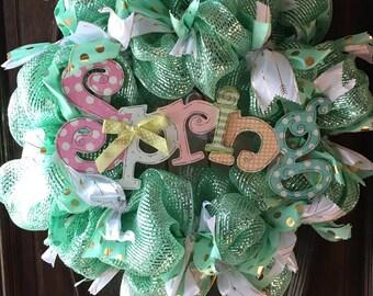 SALE-Spring, Easter, Deco Mesh, Wreath, Sparkle, Decomesh