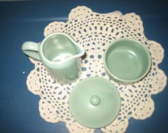 Vintage Green Creamer And Sugar Bowl Set