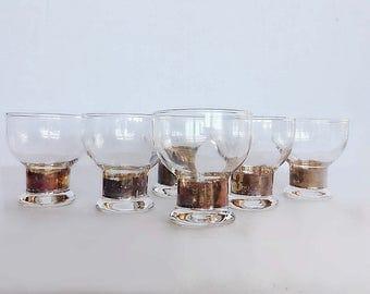 Set of 6 Vintage Copper Trim Low Ball  Glass Set /Vintage Barware /Boho Bohemian Glassware /Rustic Copper Barware /Copper Juice Glass