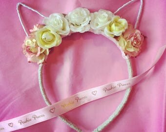 Cute floral cat ears floral headband