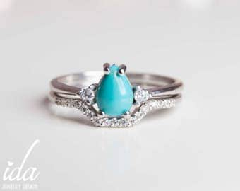 White Gold Turquoise Engagement Ring Set - Wedding Ring Set - White Gold Wedding Band Women  - Unique Engagement Ring - Turquoise jewelry